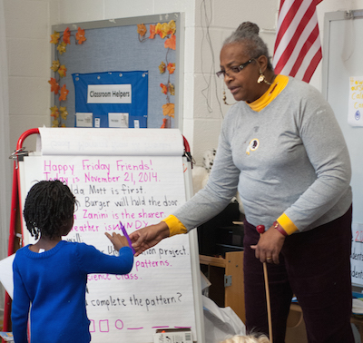 Ms. Margaret Ricks during morning meeting in her kindergarten classroom at School Within School @ Goding