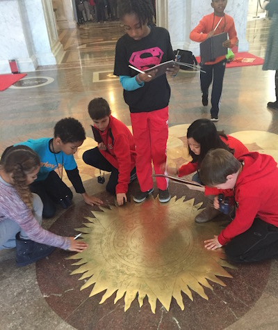 SWS 4th graders at the Library of Congress -- feeling the brass sun!